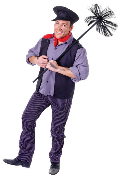 Mens Chimney Sweep Costume Victorian London Peasant Cockney Fancy Dress Outfit